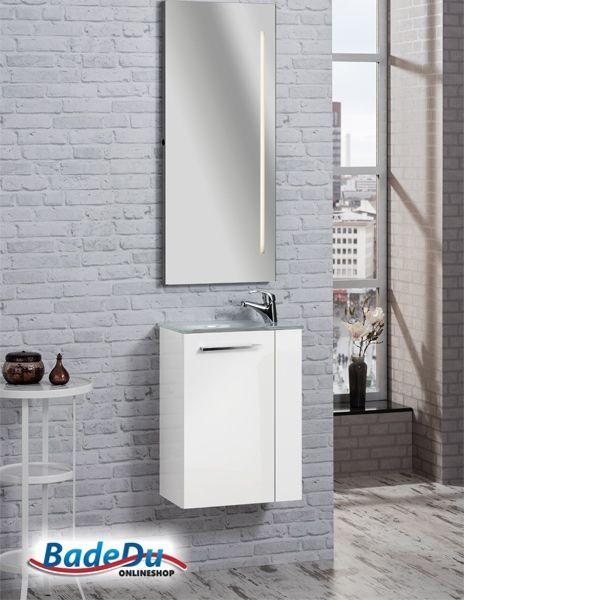Fackelmann RONDO Badmöbel Set Gäste WC Weiß (2 Teilig)   Waschbecken Links