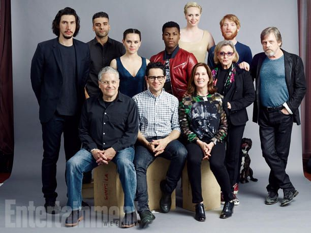 (Seated) Lawrence Kasdan, J.J. Abrams, Kathleen Kennedy; (standing) Adam Driver, Oscar Isaac, Daisy Ridley, John Boyega, Gwendoline Christie, Carrie Fisher, Domhnall Gleeson, Mark Hamill, 'Star Wars - Episode VII - The Force Awakens' - 'Star Wars #EWComicCon  Image Credit: Michael Muller for EW