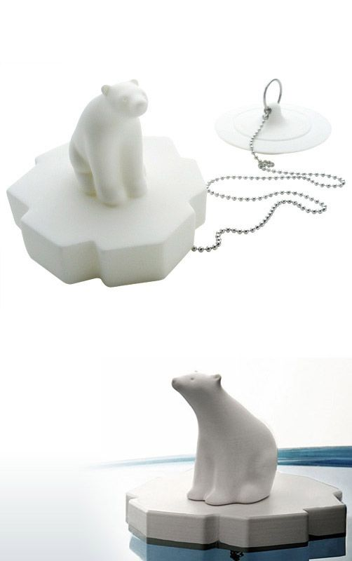 Polar bear bathtub drain plug.