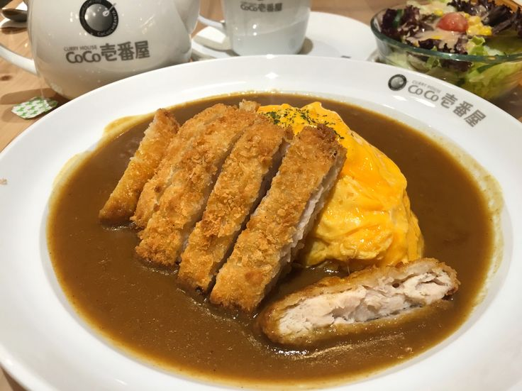 Chicken katsu omelette curry