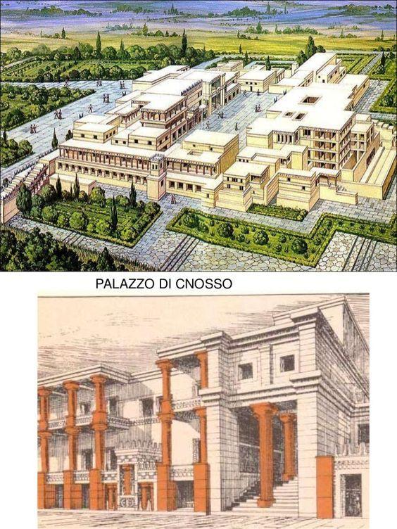 Ricostruzione palazzo di Cnosso, Creta II millennio a.C.. Scoperto da Sr Arthur Evans, aprì gli scavi nel 1900