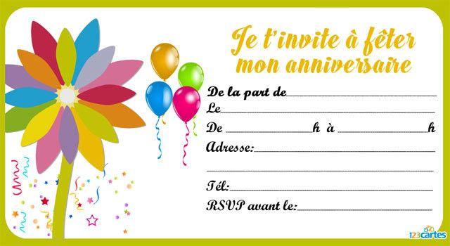 Invitation Anniversaire A Imprimer Gratuite Elegant Carte