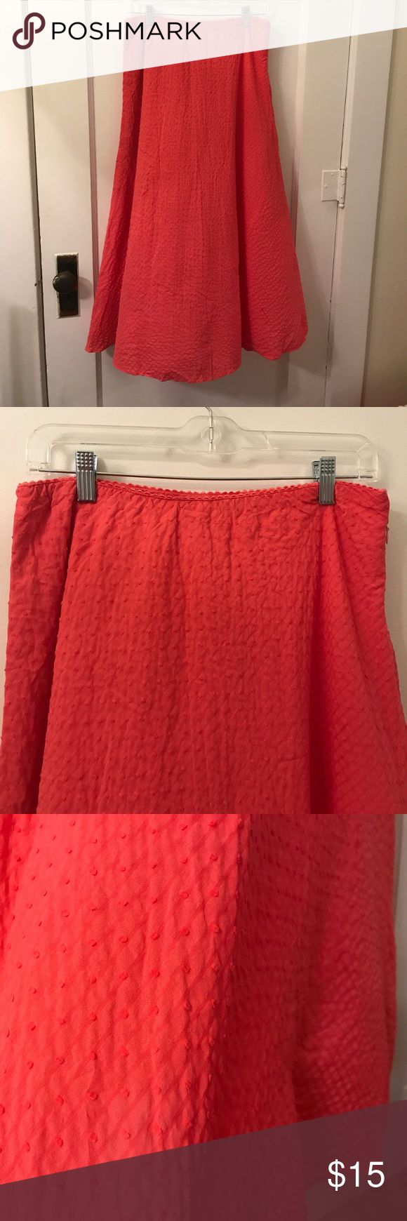 Textured Coral Maxi Skirt. 100% Cotton. Cotton Lined as well. Beautiful Coral Color. Breezy. Zips on the side. Susan Bristol Skirts Maxi