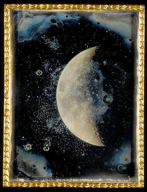 'View of the Moon' - Daguerreotype taken through Harvard's Great Refractor Telescope by John Adams Whipple on February 26, 1852