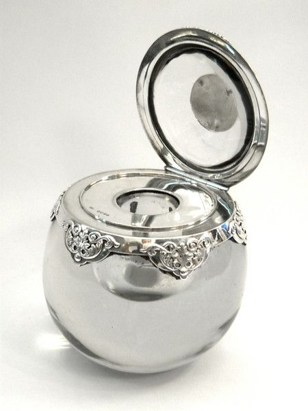 RARE VICTORIAN SILVER & GLASS INKWELL / INK WELL LONDON 1886 John Bull Antiques www.antique-silver.co.uk Silver Dealer London, UK