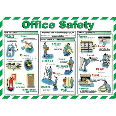 Office Safety chart - from Signs & Plastic Products Ltd. This poster details general office safety procedures and best working practices.