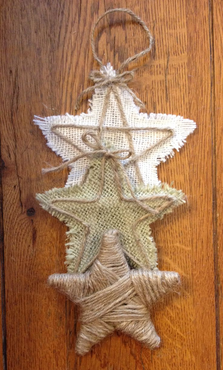 Burlap Stars Made with craft sticks, burlap and jute twine