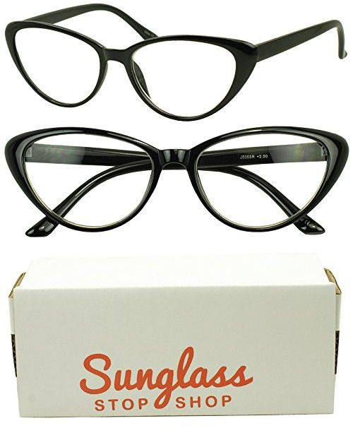 e3b5a5b61f Sunglass Stop - Women s Round Rx Optical Cat Eye Magnification Reading  Readers Eye Glasses (Black