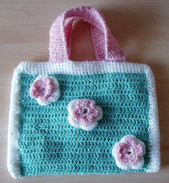Gehäkelte Kinder-Tasche mit Blumen, Crochet