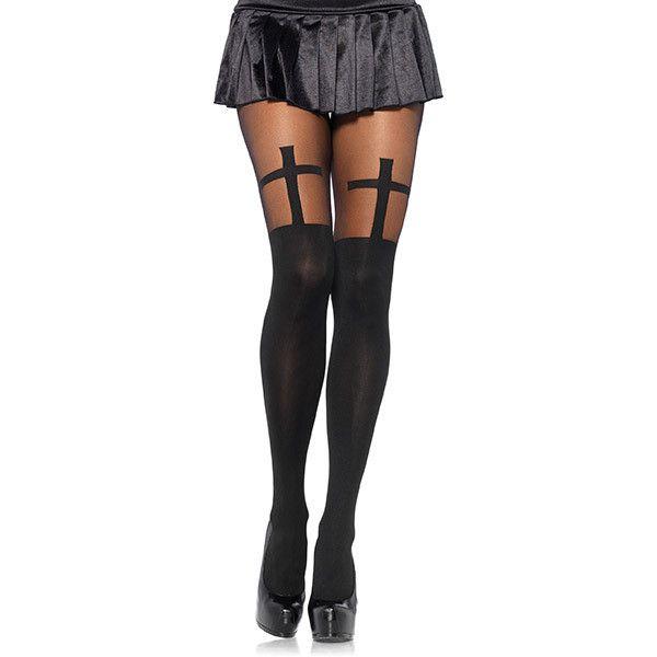 Women's Leg Avenue Grunge-Style HosierySpandex Opaque Cross with Sheer... ($12) ❤ liked on Polyvore featuring intimates, hosiery, black, socks & hosiery, leg avenue, sheer hosiery, opaque hosiery and leg avenue hosiery