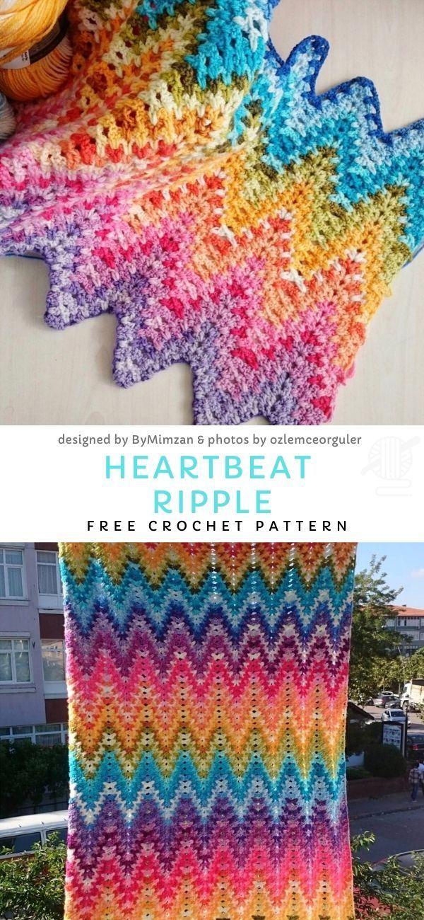 Heartbeat stripes afghan