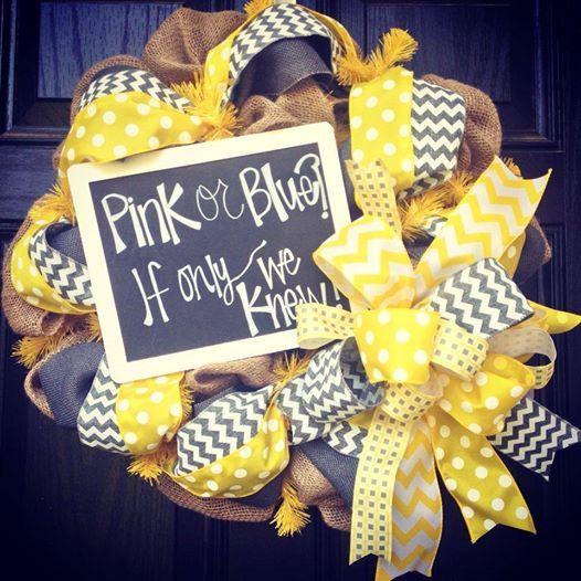 Burlap baby shower wreath // Gender unknown wreath // Yellow // White // Gray // Chalkboard// Bee baby shower on Etsy, $85.00