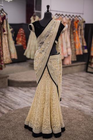 Black and Off White Lengha Sari