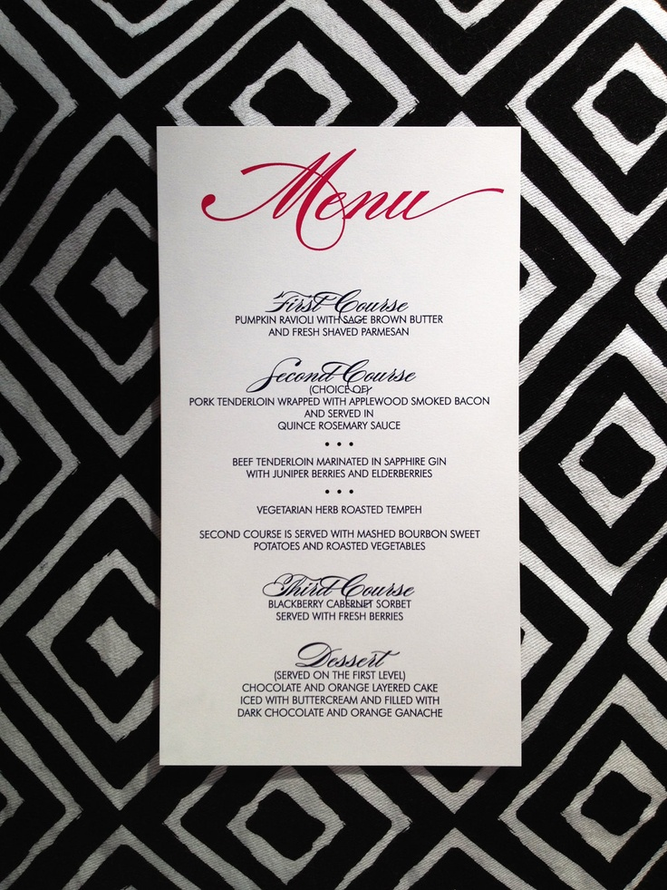 Wedding Menus 49 best Menus images on