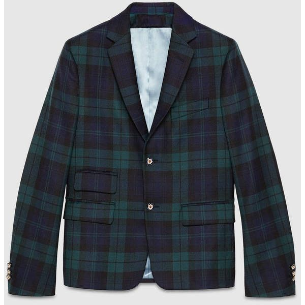 Gucci Cambridge Wool Tartan Jacket (6.985 BRL) ❤ liked on Polyvore featuring men's fashion, men's clothing, men's outerwear, men's jackets, mens plaid wool jacket, mens wool outerwear, mens plaid jacket, mens wool jacket and gucci mens jacket