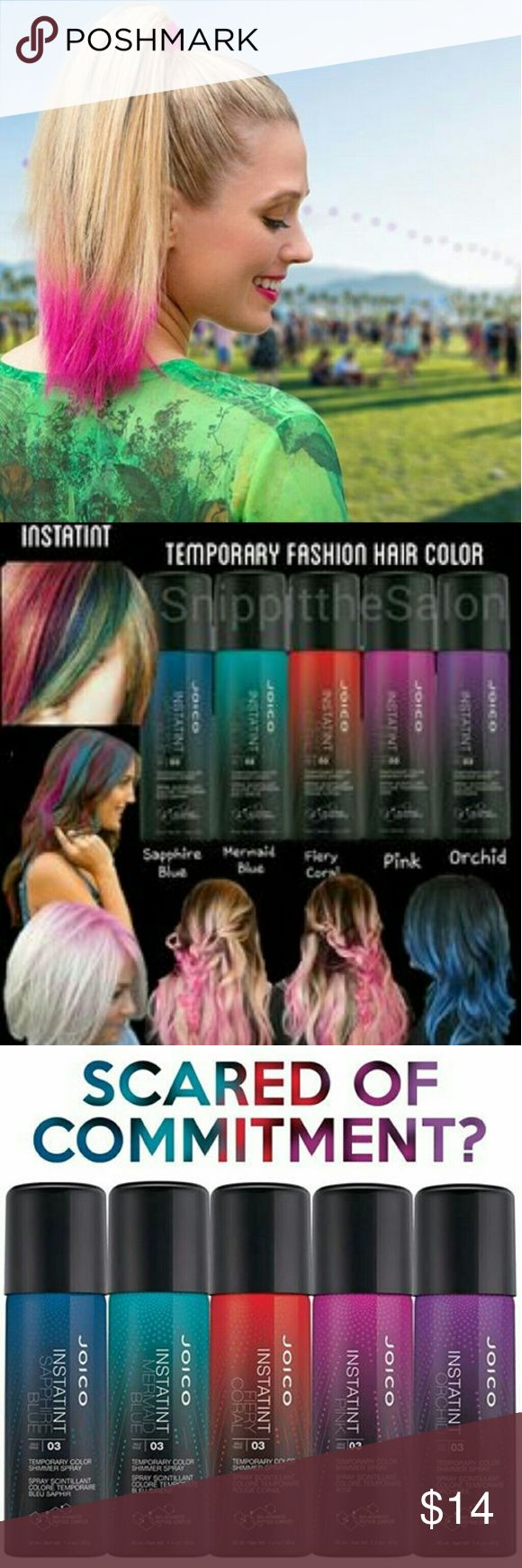 Hot Pink Ends Jan 31st Authentic Joico InstaTint Temporary Color Shimmer Spray 1.4 oz. LASTS 3 DAYS and washes out. Spray over a paper towel. Like hair spray, let it dry then separate with fingers. Shows vibrant on top of any hair color. This colors is Hot Pink. There is also a True Pink. 30% off 2 or more.  Just Bundle and it will calculate your discount. 10 colors to choose from. joico Other