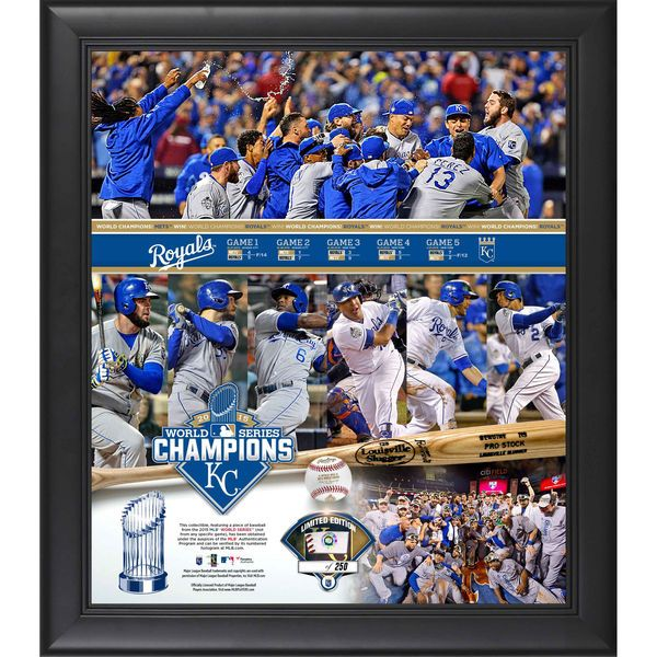 """Kansas City Royals Fanatics Authentic 2015 MLB World Series Champions Framed 15"""" x 17"""" World Series Recap Collage with a Piece of Game-Used World Series Baseball - $119.99"""