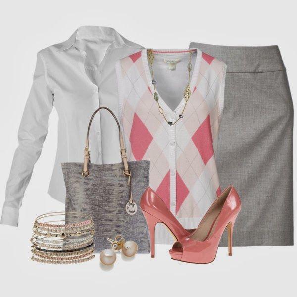 Work Outfits | Argyle Sweater Vest  RAXEVSKY Shirt, Lady Hagen Vest, Pencil Skirt, ALDO Shoes, Michael Kors Bag  by brendariley-1