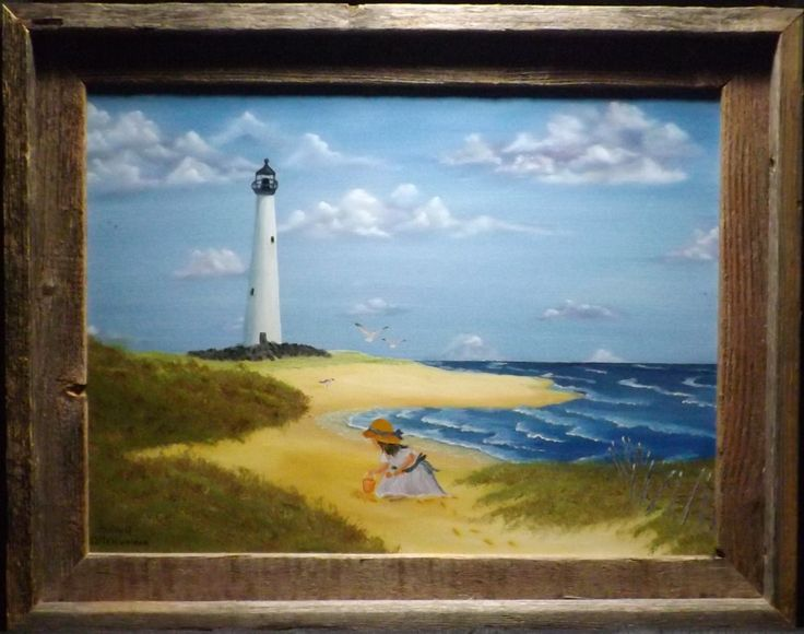 12x16 framed oil painting of little girl on the beach wwwpaintsbymichaelcom