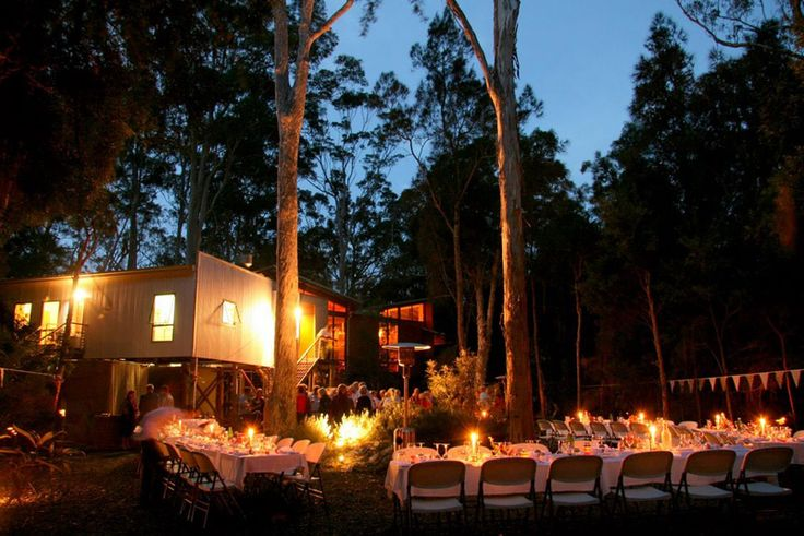 Paperbark Camp, Jervis Bay NSW - outdoor wedding dinner reception surrounded by forest and candlelight http://www.paperbarkcamp.com.au/paperbark_weddings.html #forest #wedding