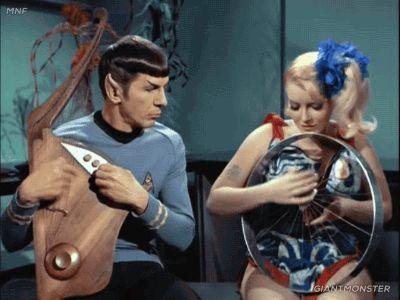 space hippies jam session – Mavig's harp & Spock grooving on Vulcan lute – Star Trek TOS, The Way to Eden 3x20 | via GiantMonster