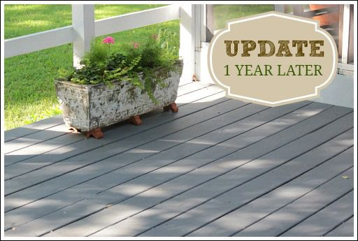 """Painting/staining a deck.  New product from Behr that worked wonderfully. It is called """"Deck Over"""". This project can be used painting a wood deck or it can be used on concrete.  Color is Flat Top."""