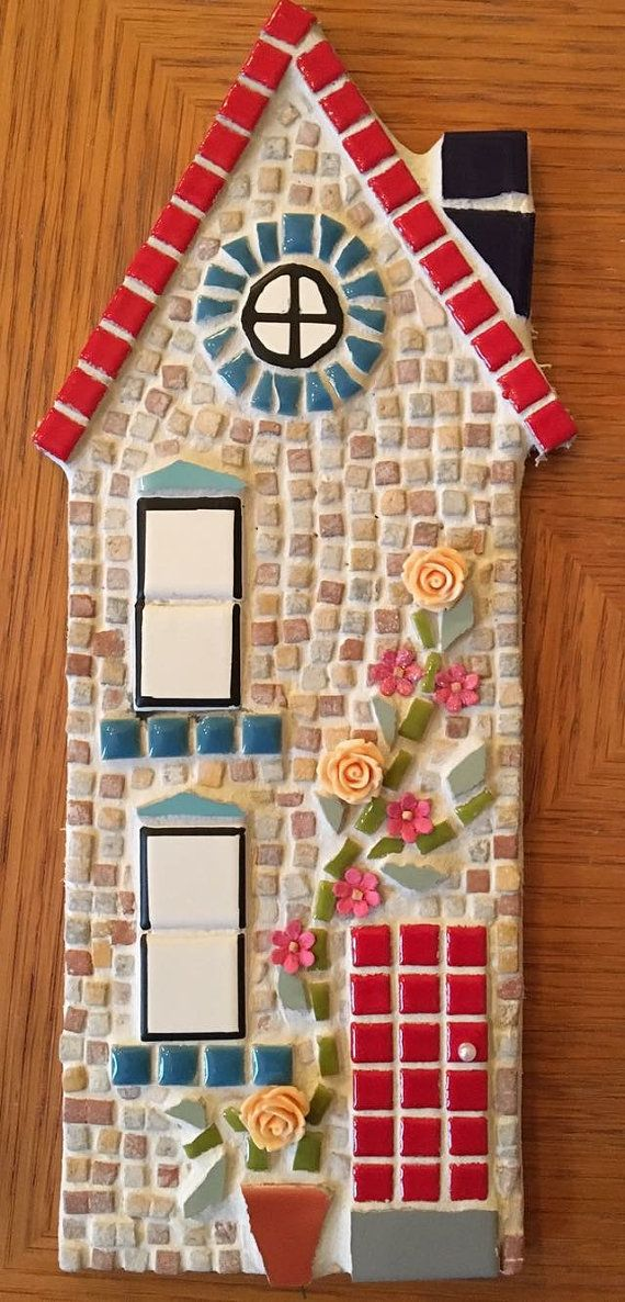 This cute house is ideal for a New Home Gift. Each one is individually designed and handmade by myself using ceramic tiles, paint and a variety of embellishments (basically anything that catches my eye!) Measures 30cm x 12cm. Ships worldwide. _____________________________________________________ Please check the rest of my shop for alternative colours and designs woodfordmosaics.etsy.com