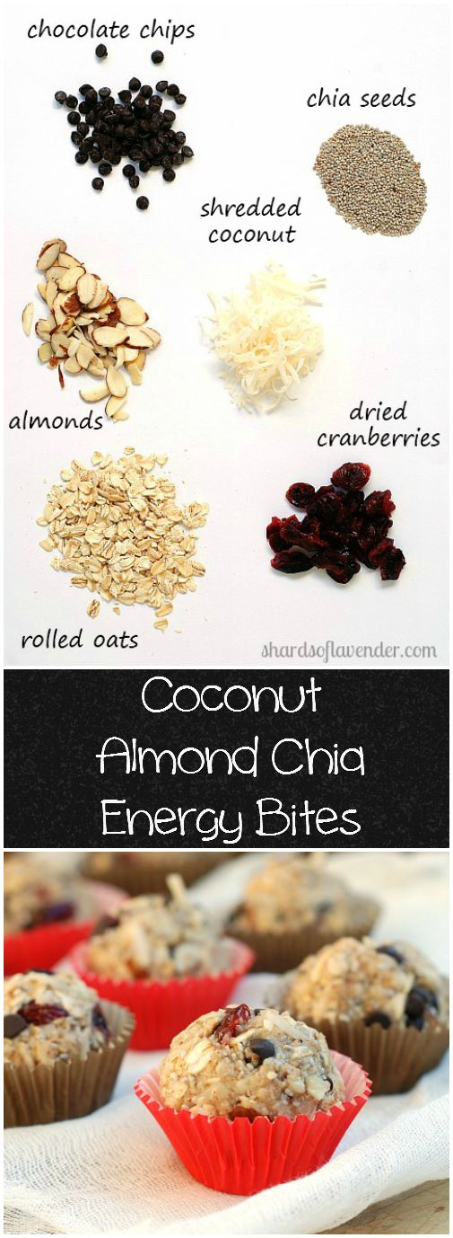 Coconut Almond Chia Energy Bites | Nutritious & healthy oats, dried fruit, chocolate & honey | shardsoflavender.com