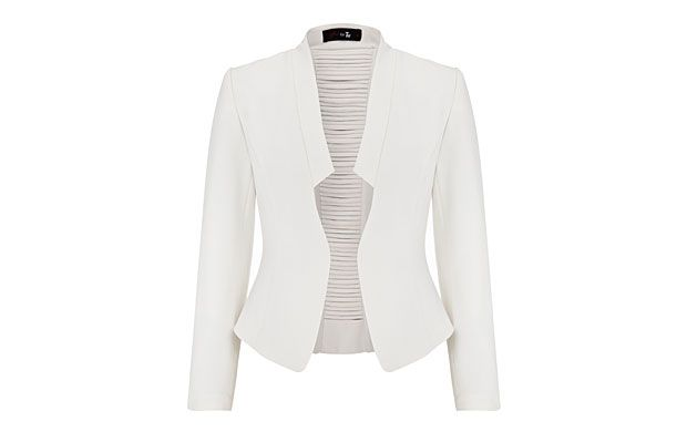 """Cream Stitch Jacket. """"Pair this stunning sculpted jacket with a simple evening dress for a high-impact evening look."""""""