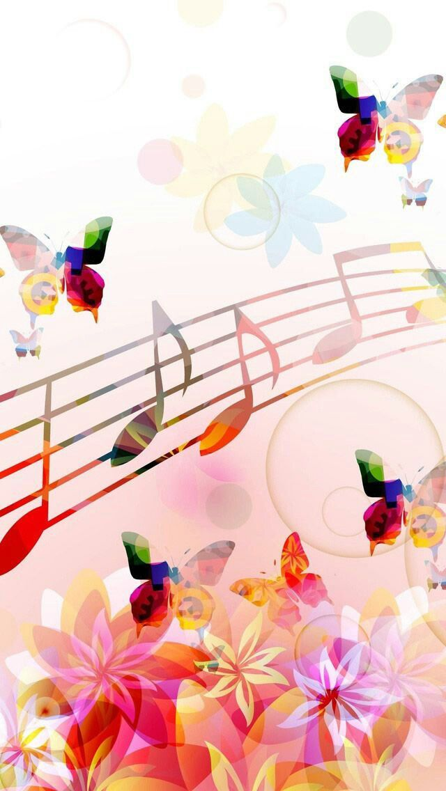 Colorful Butterflies with Music Scale Wallpaper