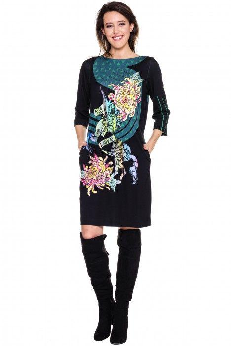 Czarna sukienka z jednorożcem - Confashion - Confashion - Odzież damska Balladine.com - Polska Moda Online