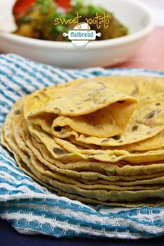 A delicious and simple sweet potato flatbread or roti recipe made with just two ingredients, no added oil and is yeast-free.