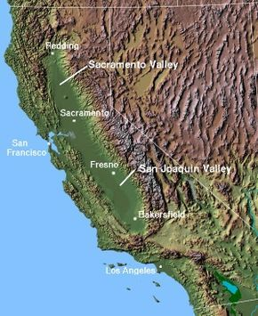 Central Valley (California) we live in between Sacramento and Fresno in the west valley.