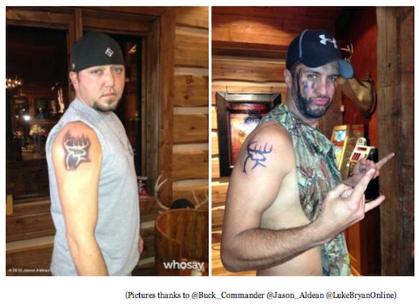 Jason Aldean and Luke Bryan Buck Commander Tattoos