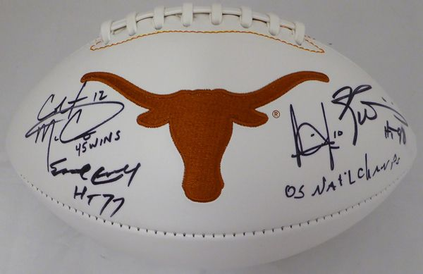 "Texas Longhorns Team Greats Autographed White Logo Football With 4 Signatures Including Earl Campbell, Vince Young, Colt McCoy & Ricky Williams """"05 Natl Champs"""" PSA/DNA #7A57309"