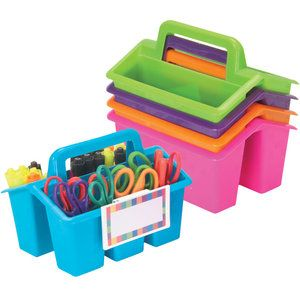 Four-Compartment Caddies With Universal Label Holders - 5-Pack- Neon