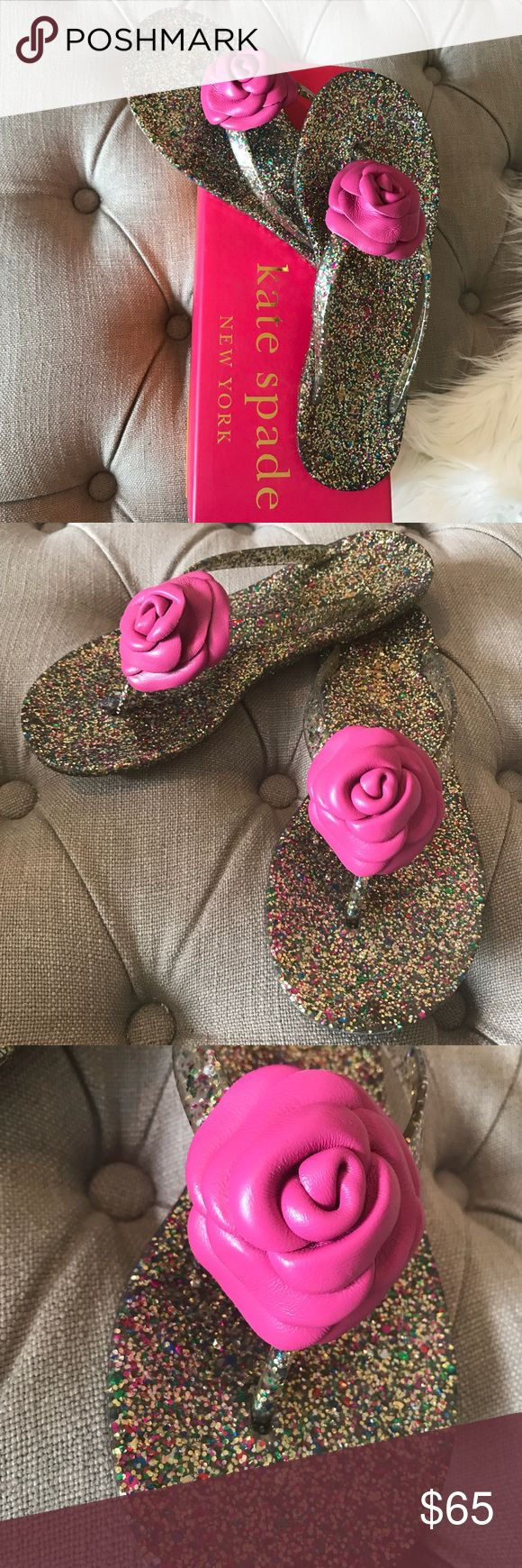 Kate Spade glitter flip flops with flower Kate Spade glitter flip flops with flower bud. Fayette multi-glitter rubber lipstick pink nappa. Super Cute! You need these in your life this spring and summer! kate spade Shoes Sandals