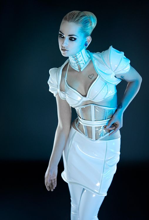 Artifice Products - Glowing trim Clear vinyl Angled Corset Belt