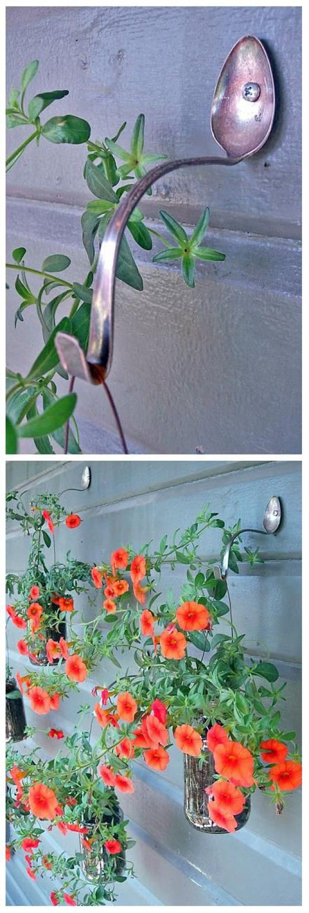 Recycle old spoons to hang your hanging baskets! // Cute idea selected by MommyInTheCity.nl