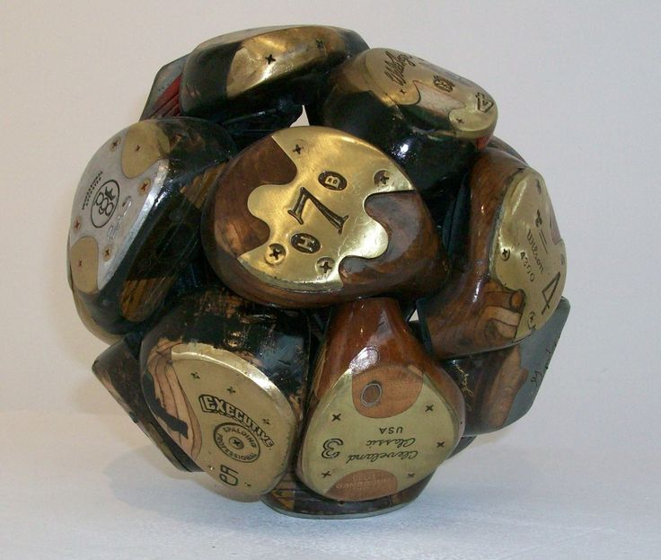 "Jeff Diamond recycled golf clubs wooden sphere .... this would be a perfect ""golf art"" gift!"