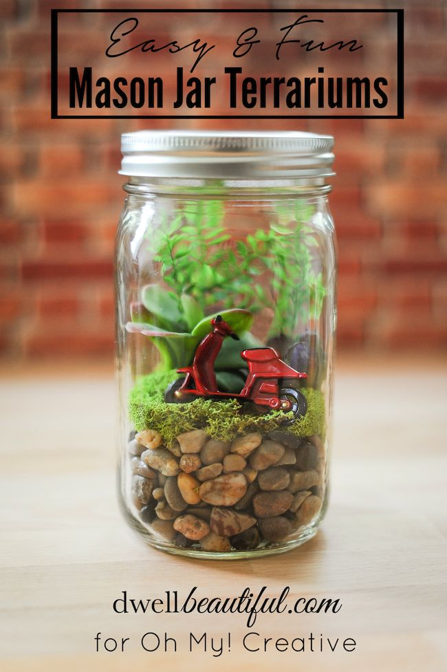 Dwell Beautiful guest posts and provides an easy tutorial for fun mason jar terrariums! Customize yours with different plants and figures for a fun look!