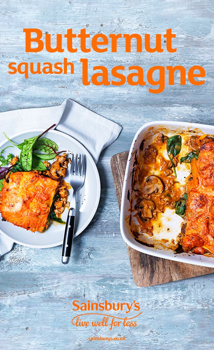 Give this classic lasagne recipe a vegetable twist by using butternut squash lasagne sheets instead of pasta. This is a great way to pack more veg into your meals. Another top swap is using turkey mince instead of pork mince. This delicious recipe is great winter comfort food, perfect for those night's in. Pick up your pre-prepared butternut squash lasagne sheets in store at Sainsbury's. Easy.