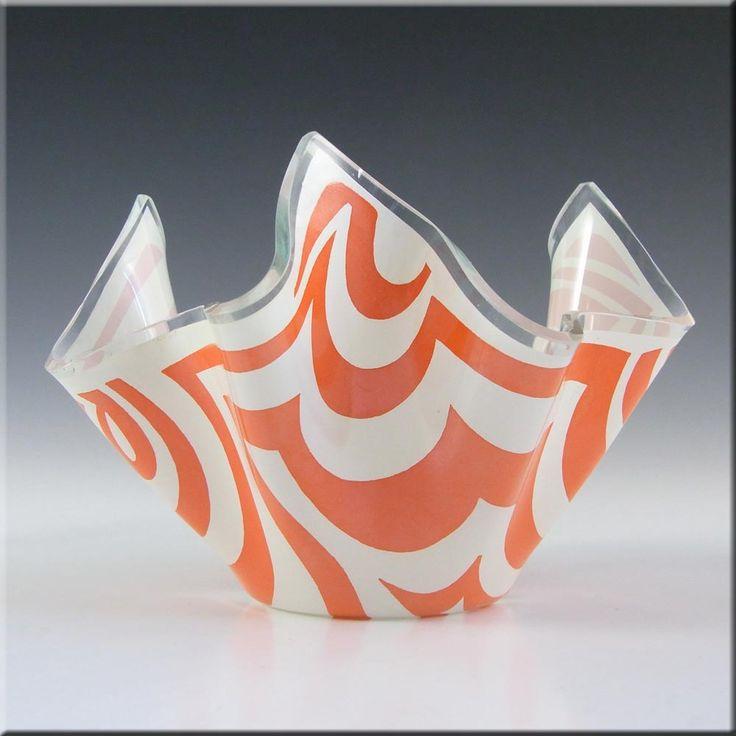 Chance Brothers Orange Glass 'Psychedelic' Handkerchief Vase - £30.00