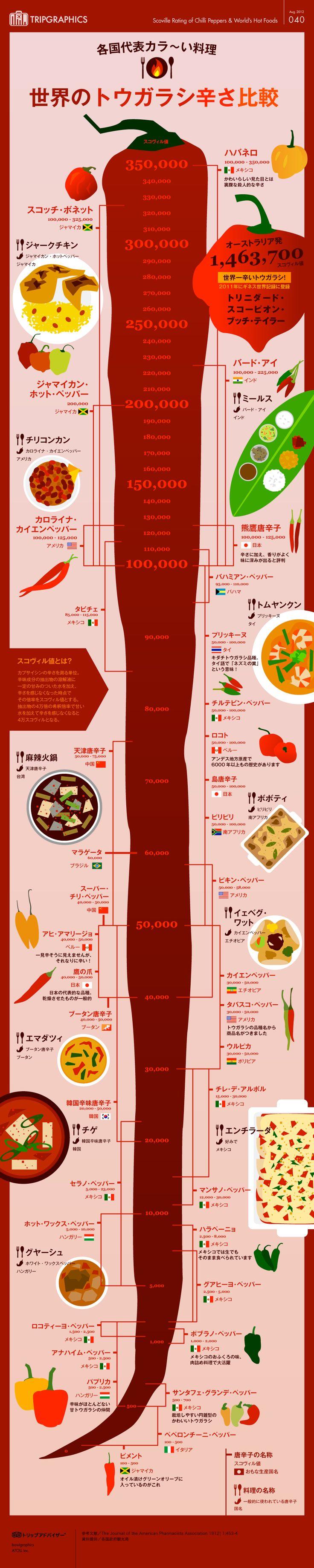 世界のトウガラシ(&カラ~い料理)辛さ比較 トリップアドバイザーのインフォグラフィックスで世界の旅が見える #infograph