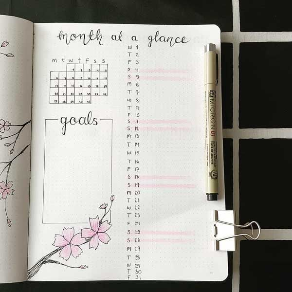 Bullet Journal Monthly Planning And Overview Bullet Journal