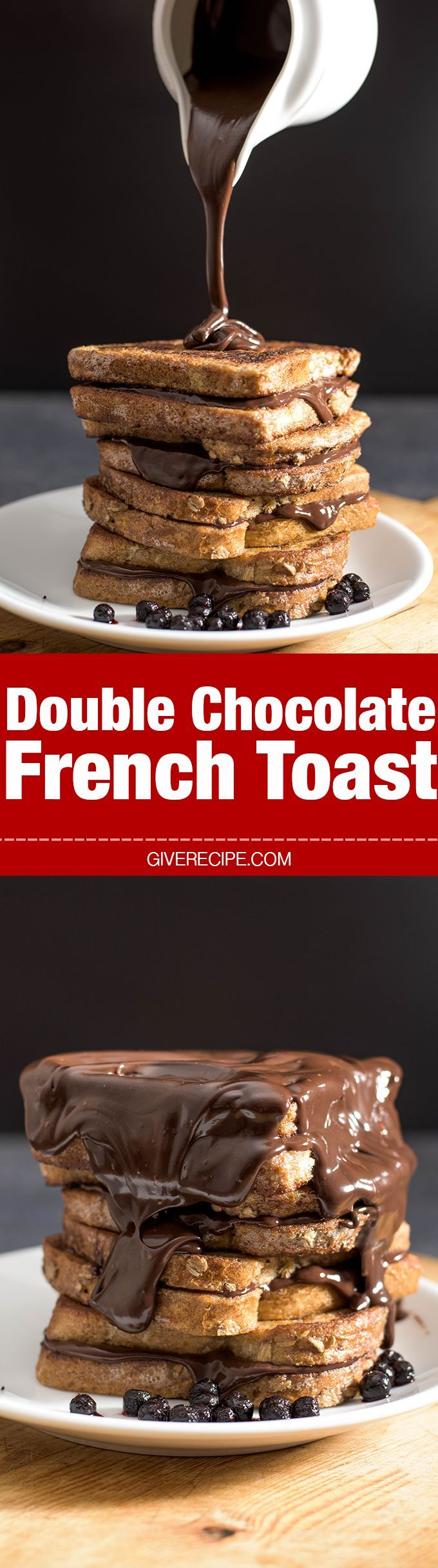 Best ever french toast sandwiched and covered with chocolate ganache. Ridiculously easy yet perfect for breakfast or sweet cravings. - giverecipe.com