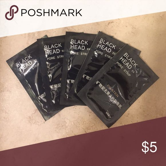 5 black head pore strips! 5 liquid masks that consolidate when applied to skin after 30 minutes and work to remove black heads boscia Other