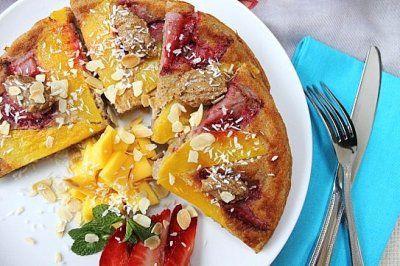 Mango Strawberry Banana Baked Pancake by Peachy Palate