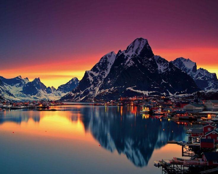 water, mountain, house, light, sky
