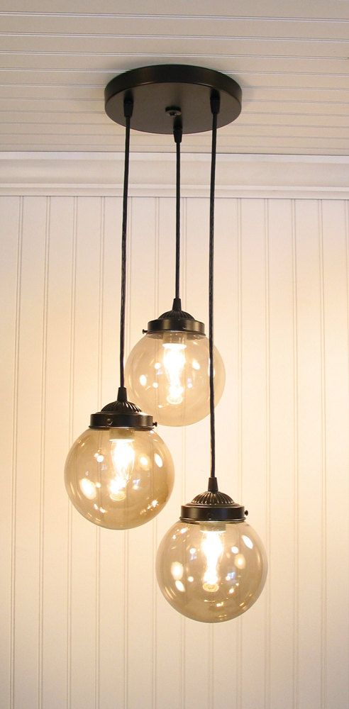 Biddeford III  Smoked CHANDELIER Trio Light by LampGoods on Etsy, $189.00